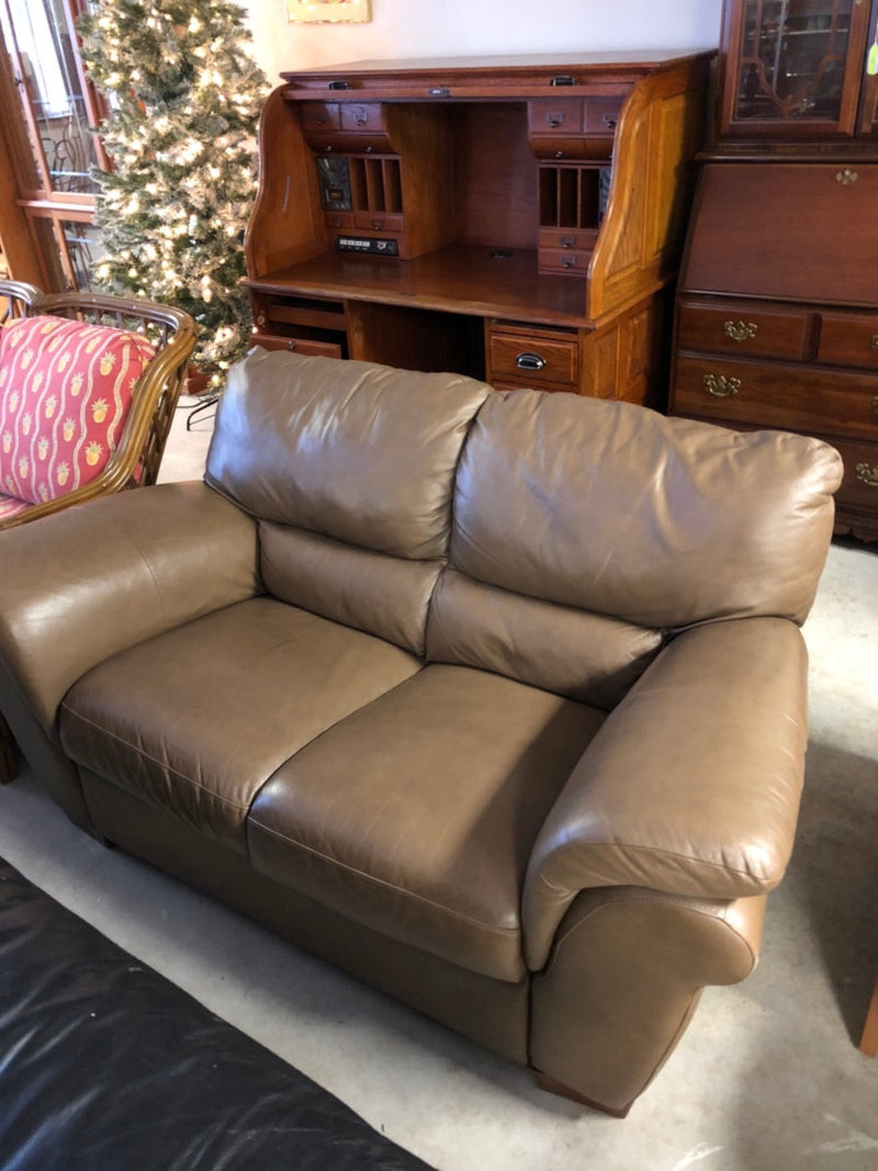 Brown Leather Loveseat Sofa Couch
