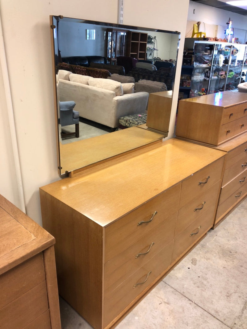 Two Matching 6-Drawer Vintage Wood Dressers