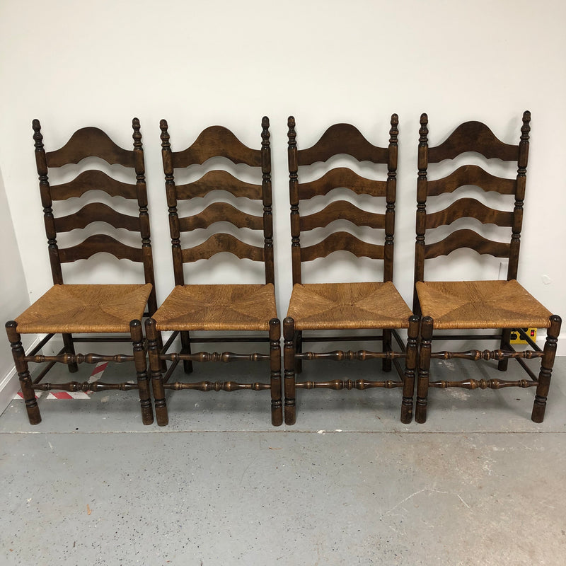 (4) Wood Frame Wicker Seat Ladder Back Chairs