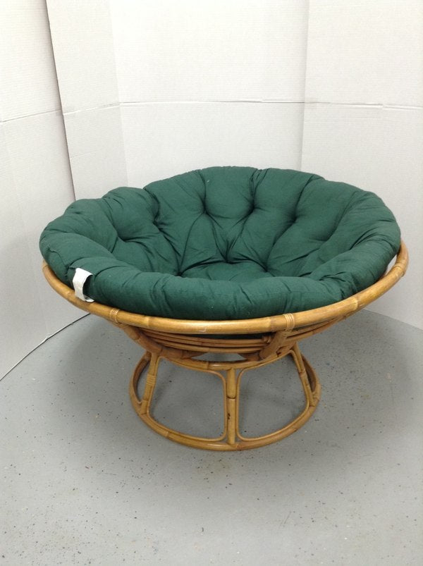"Pier 1 42"" Bamboo Papasan Saucer Chair W/ Micro Suede Green Cushion"