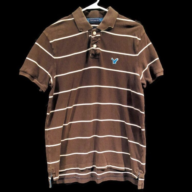 American Eagle Vintage Fit Striped Brown White Short Sleeve Polo Shirt