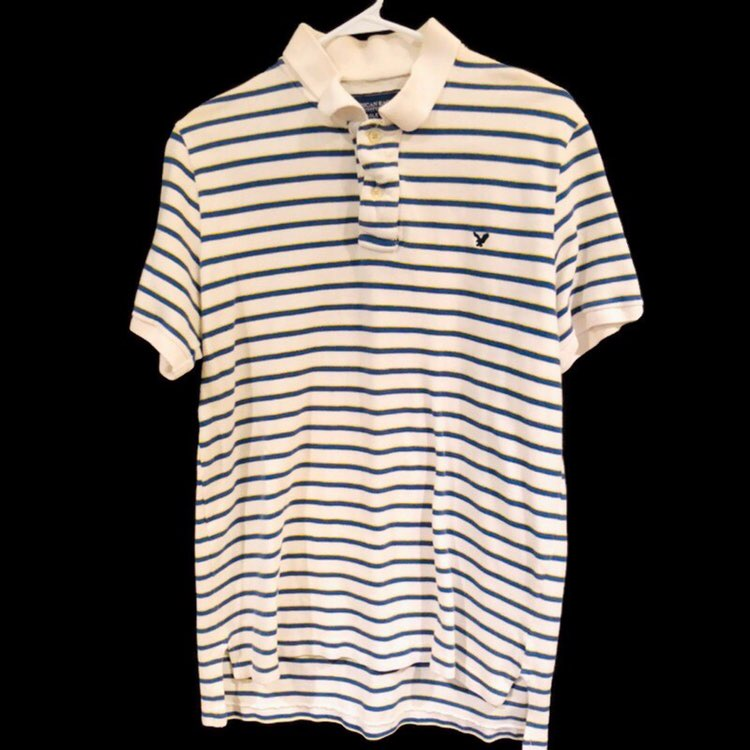 American Eagle Striped Blue Yellow Short Sleeve Polo Shirt