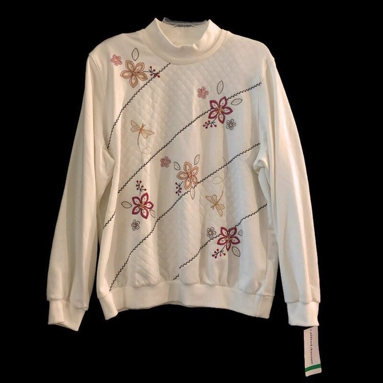 Alfred Dunner Womens Cream Floral Mock Neck Sweater