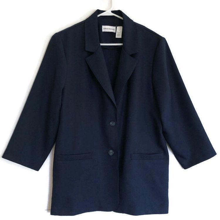 Alfred Dunner Womens Navy Blue Shoulder Pads 2 Buttons Suit Blazer Jacket