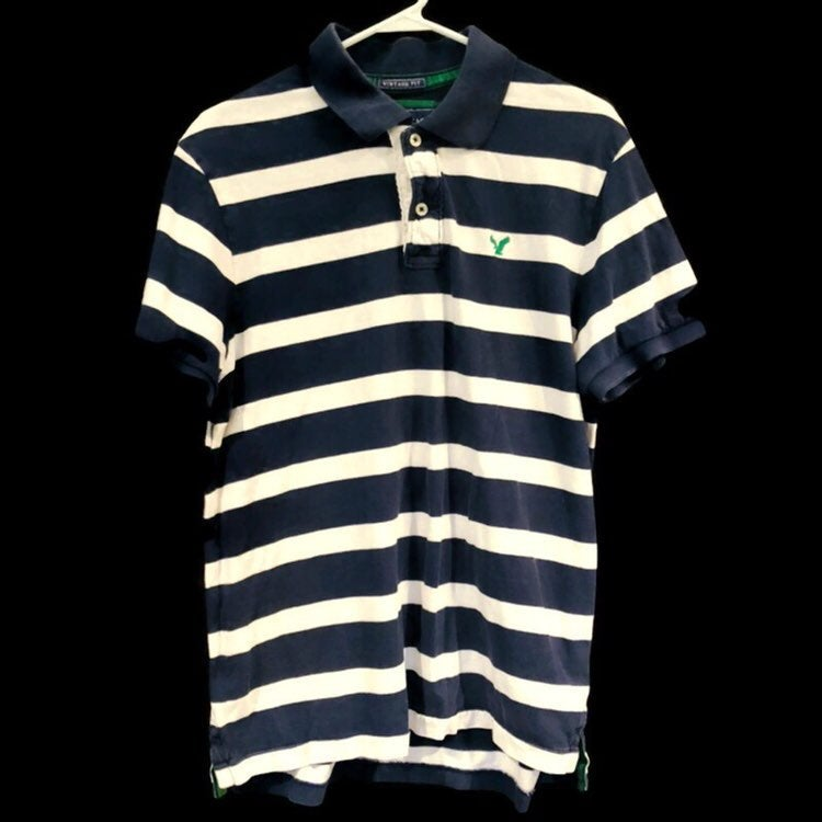 American Eagle Vintage Fit Striped Blue White Short Sleeve Polo Shirt