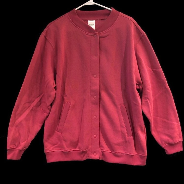 Blair Womens Snap Front Deep Berry Long Sleeve Pockets Cardigan
