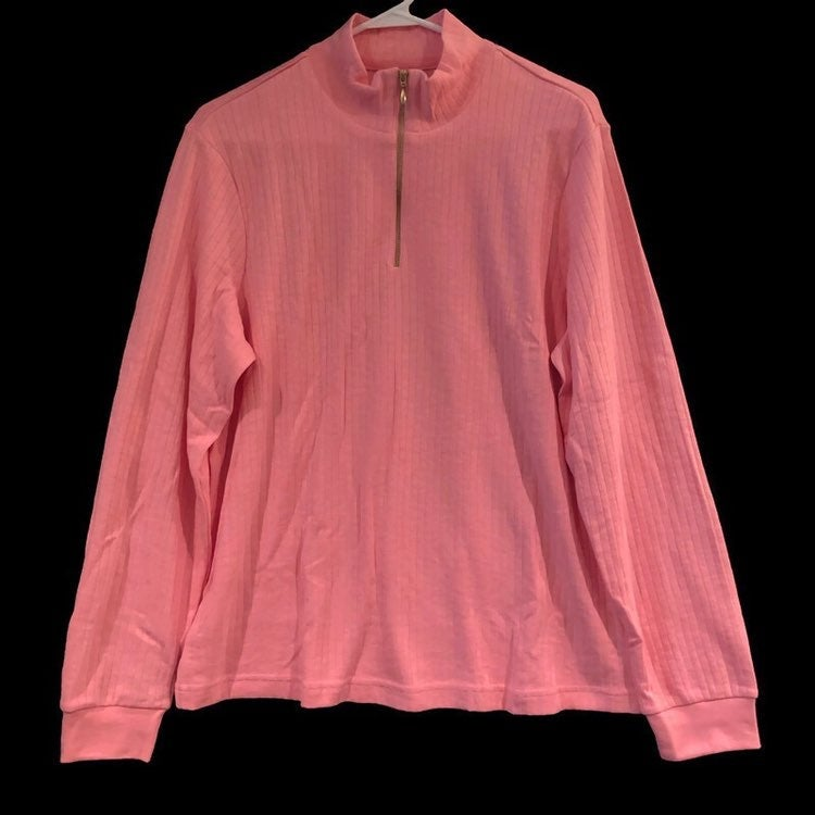 Blair Womens Quarter Zip Mock Neck Long Sleeve Ribbed Dusty Rose Shirt