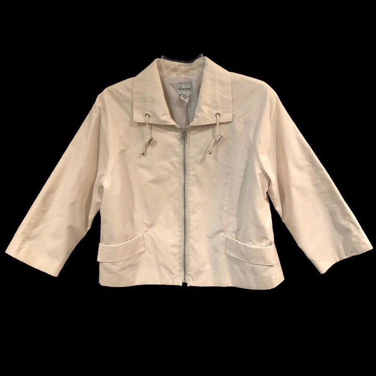 Chico's Womens Zip Up Lightweight Cream Jacket