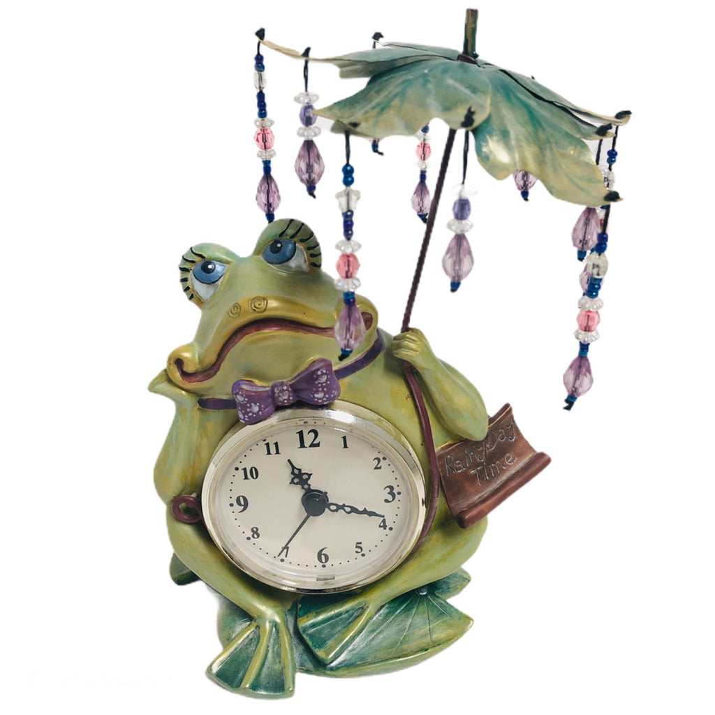Artico Smiling In The Rain Frog Rainy Day Time Clock