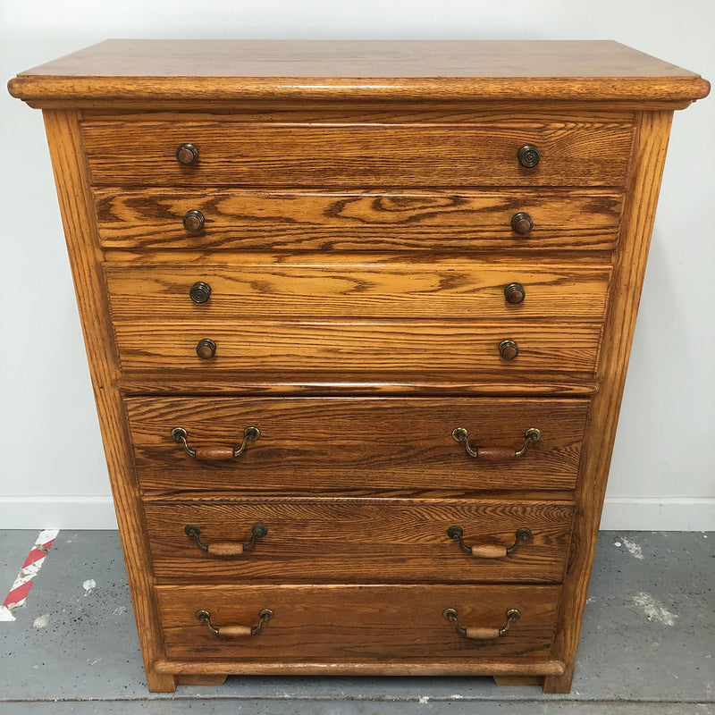 Thomasville Large Dark Oak 5 Drawer Tall Dresser Chest