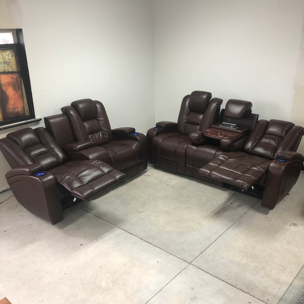 Brown Leather Illuminated Blue Cup Holders Electric 5 Button Reclining Couch Set
