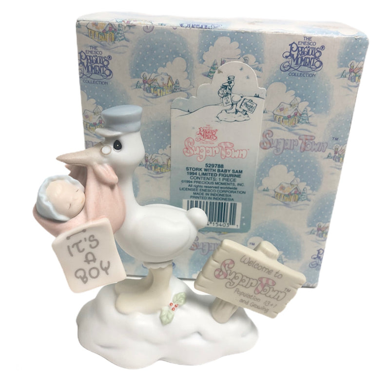 Precious Moments Sugar Town Stork With Baby Sam Figurine 529788