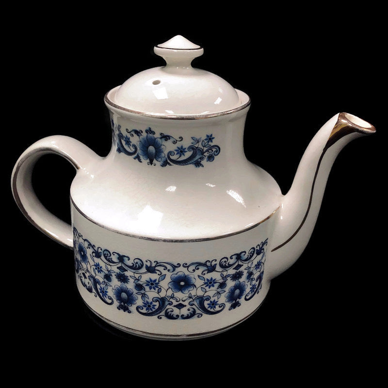 Arthur Wood England Stratford Blue Flowers Floral Porcelain Tea Pot 5304