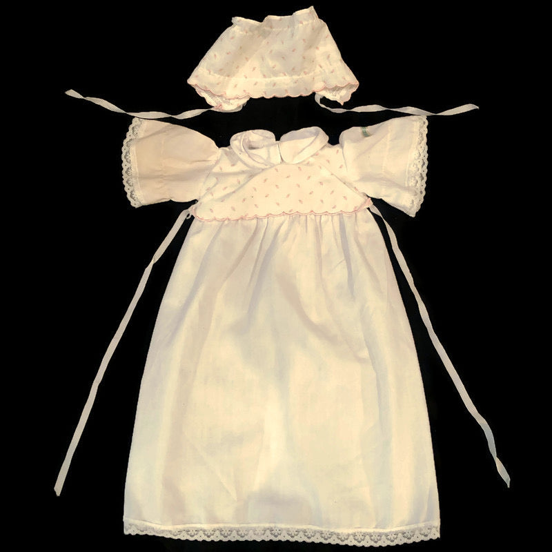 Cabbage Patch Kids White & Pink Rosebud Sleeper Gown & Bonnet