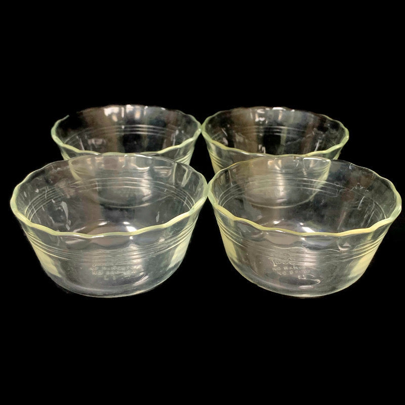 (4) Pyrex Scalloped Edge Clear Glass 175 ML Custard Bowls 463
