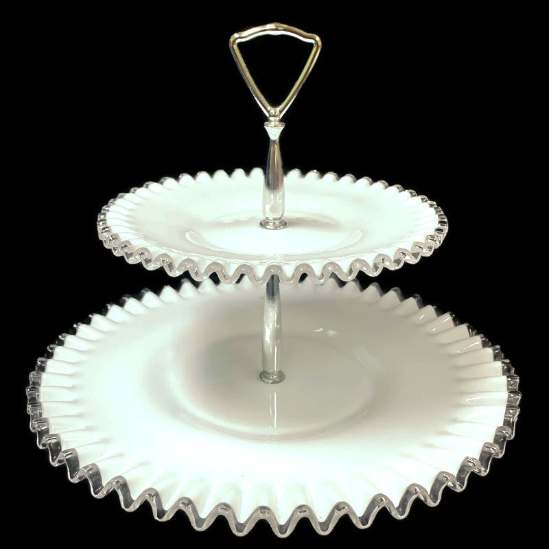 Fenton Silver Crest Milk White 2 Tier Serving Tray Tidbit