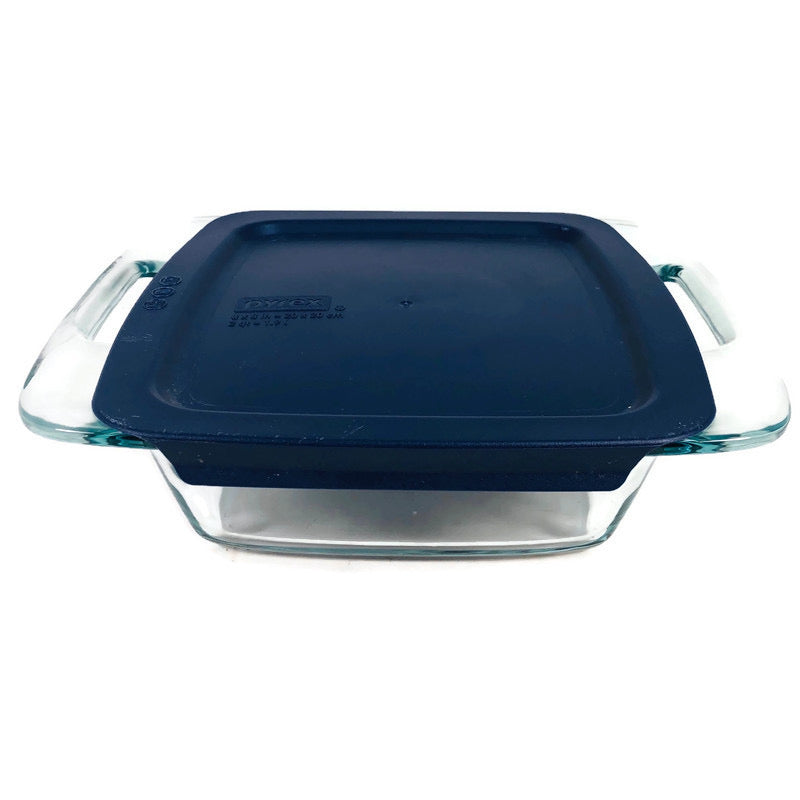 "Pyrex 8""x8"" 2 Qt Clear Glass Casserole Baking Dish + Lid"