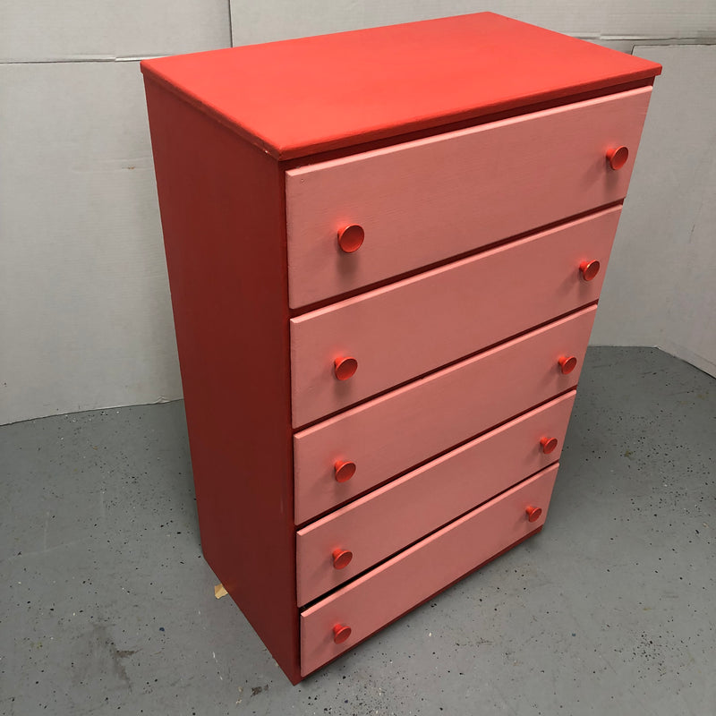 5 Drawer Tall Boy Red & Pink Wooden Dresser Chest