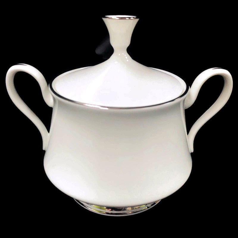 Oxford Lexington Bone China White Platinum Trim Sugar Bowl