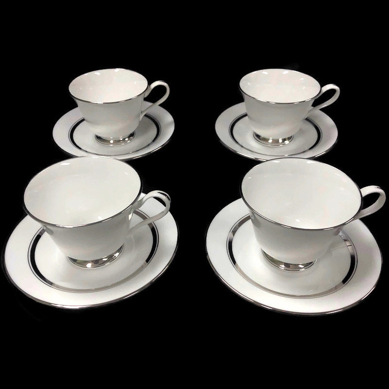 (4) Oxford Lexington Bone China White Platinum Trim Coffee Mug Tea Cup Saucer Plate Set