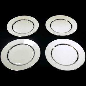 "(4) Oxford Lexington Bone China White Platinum Trim 6.5"" Bread & Butter Plate"