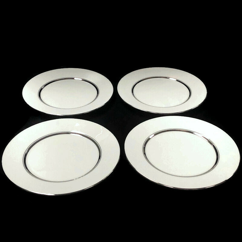 "(4) Oxford Lexington Bone China White Platinum Trim 8"" Salad Plate"