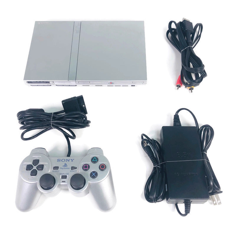 Sony Playstation 2 PS2 Silver Slim Console System Bundle SCPH-77001