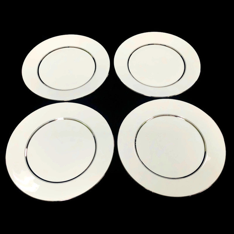 "(4) Oxford Lexington Bone China White Platinum Trim 10.5"" Dinner Plate"