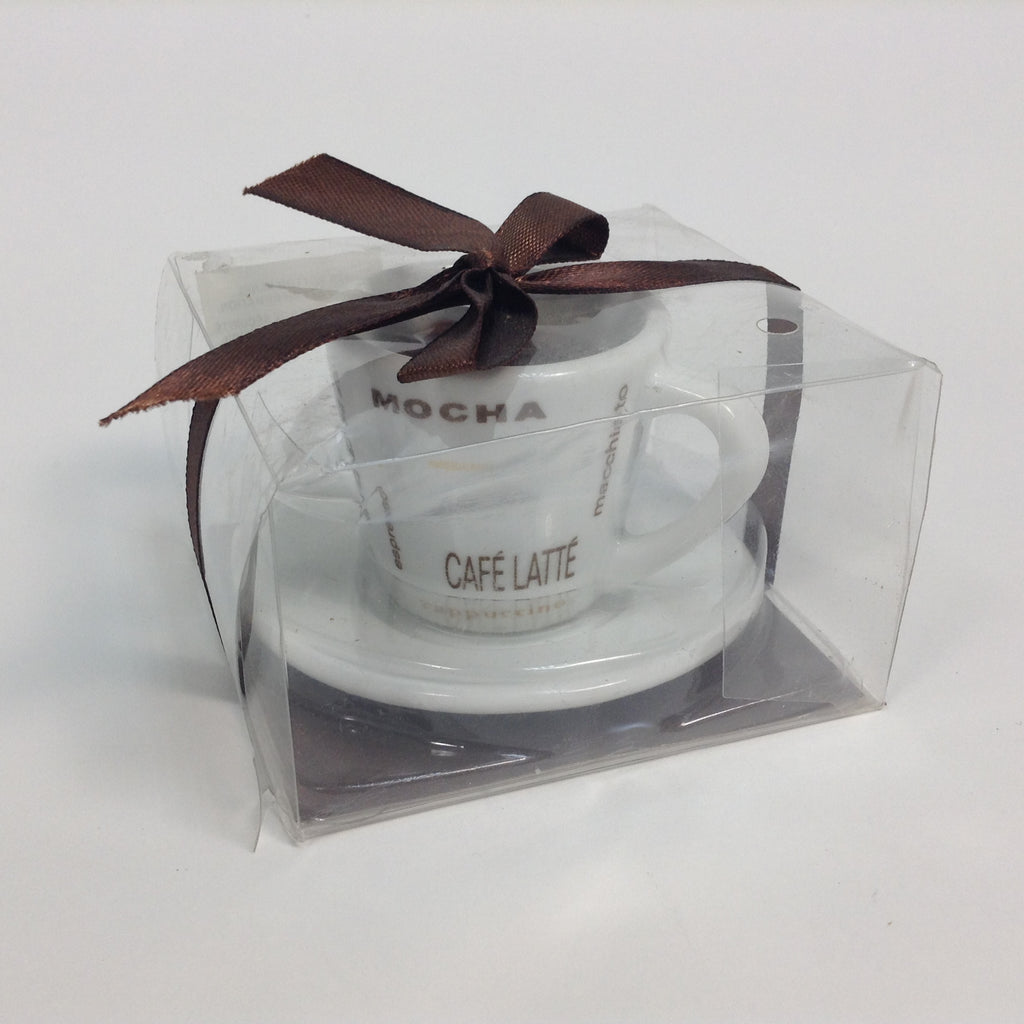 New Mini Coffee Cafe Latte Mocha Cup & Saucer Mug Candle Boxed Gift