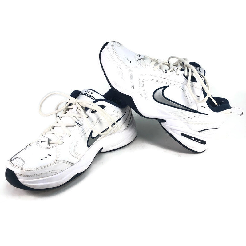 Nike Air Monarch IV Mens White Navy Blue Athletic Shoes 415445-102