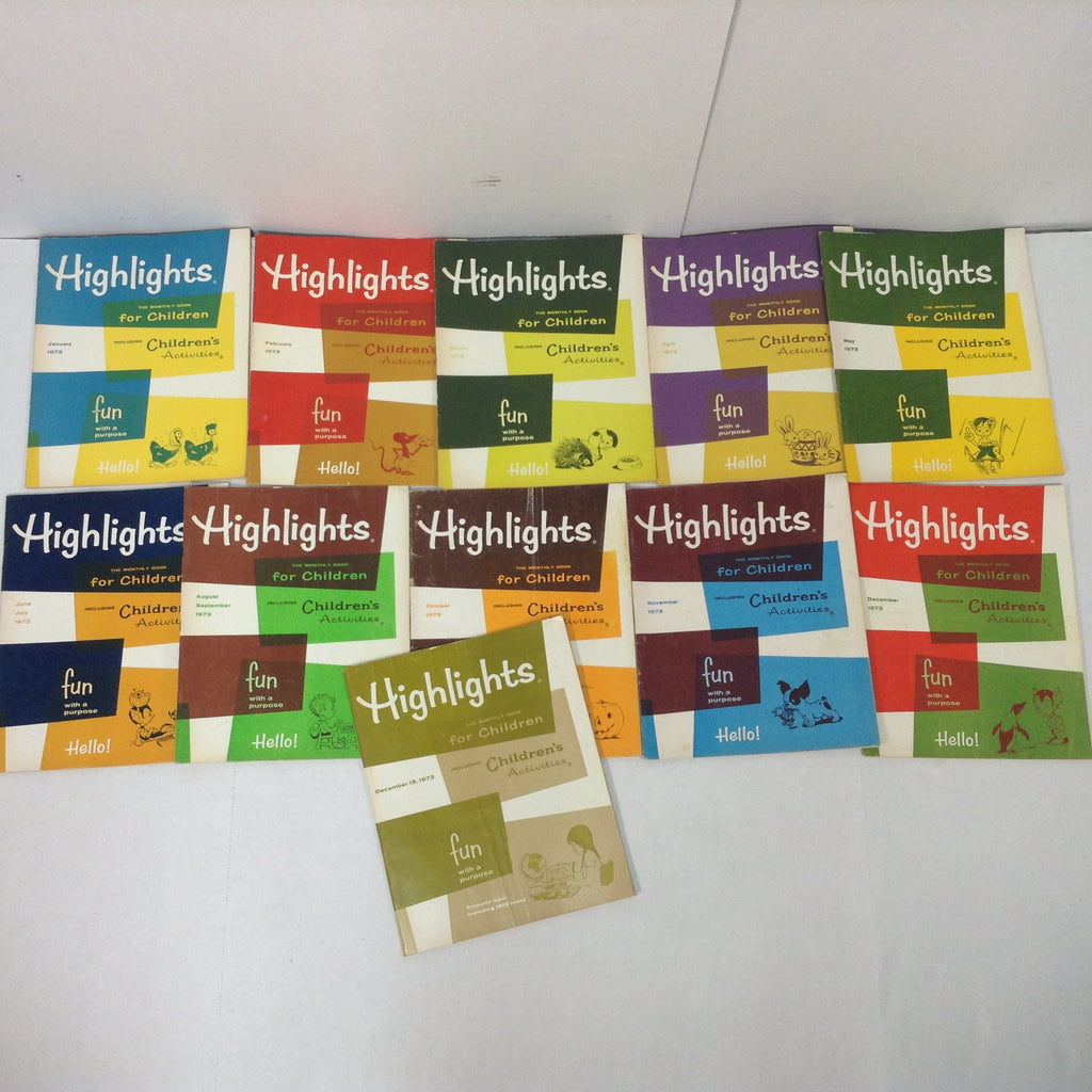 (11) Highlights For Children Magazines 1973 Complete Set Lot January-December