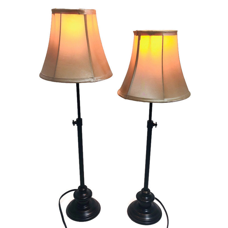 "(2) Adjustable Height 23""-28"" Matching Black Base Beige Shade Table Lamps"