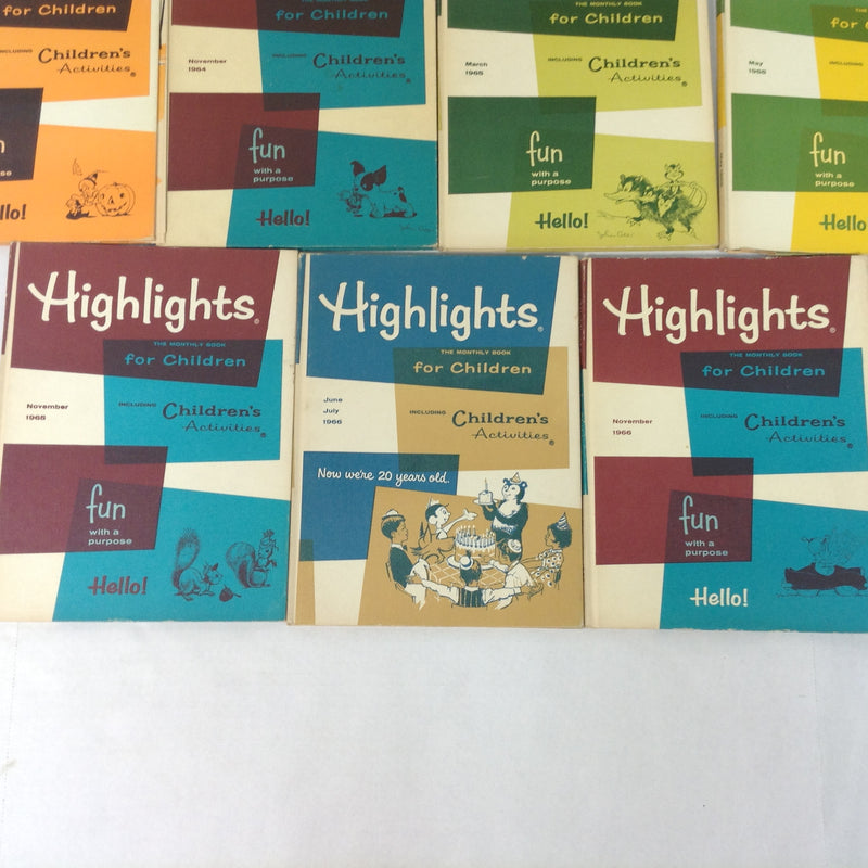 (11) Highlights For Children Magazines Hardcover 1963-1966 Various Dates Lot