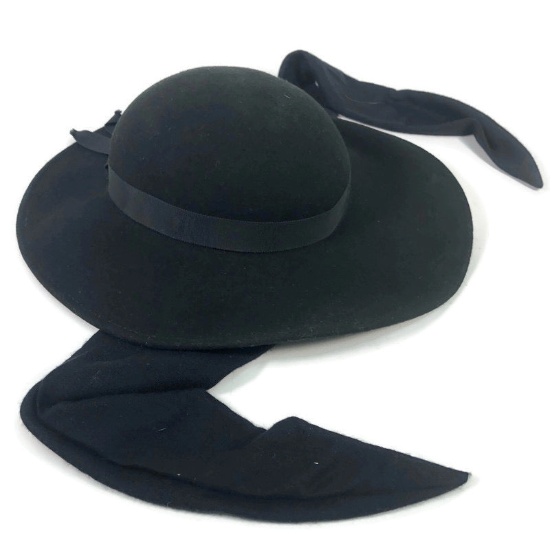Bollman Doeskin Felt 100% Wool Ribbon Scarf Black Derby Hat