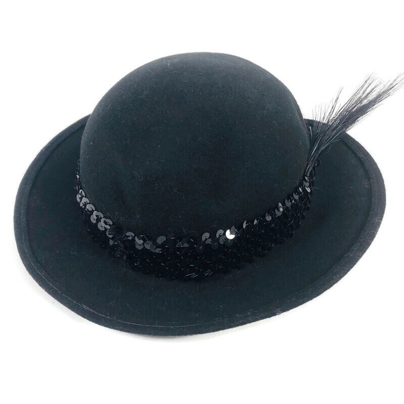 Bollman 100% Wool Feather Ribbon Black Derby Hat