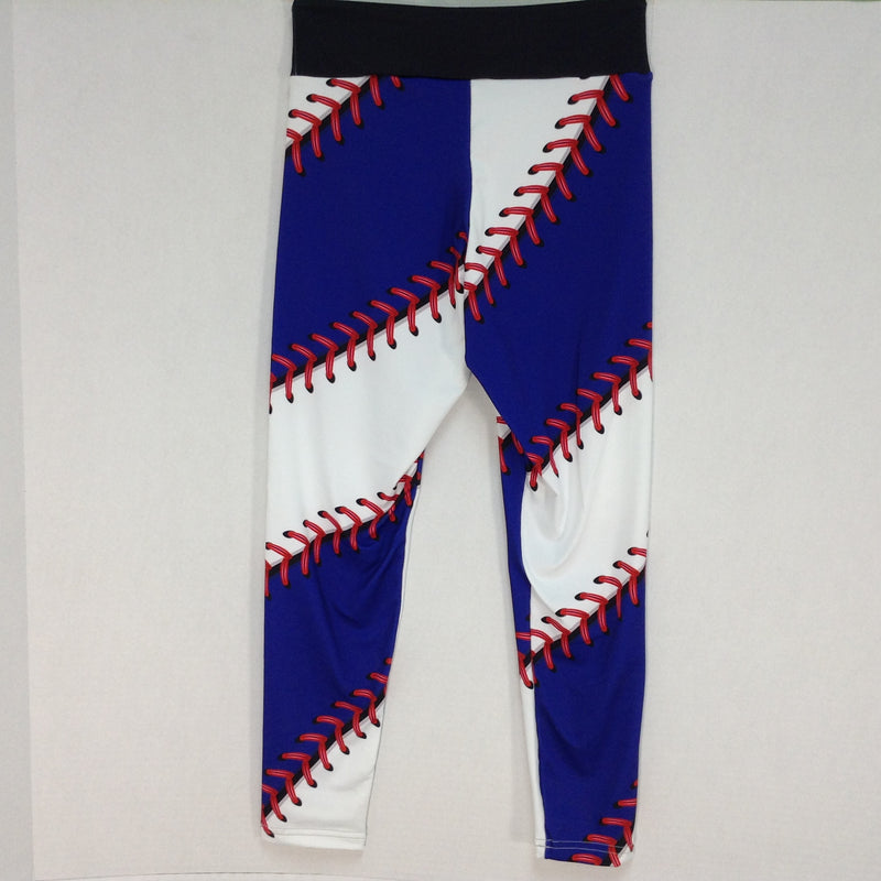 Brave New Look Womens Large Blue & Red Baseball / Softball Yoga Stretch Leggings