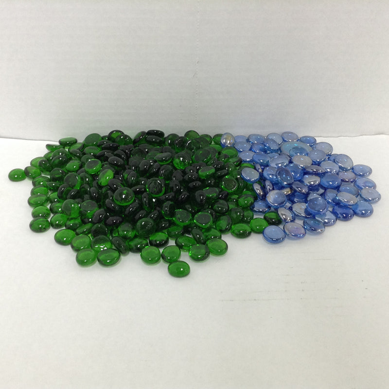 (310) Flat Bottom Green & Blue Marbles Decor Various Sizes 3 lbs.