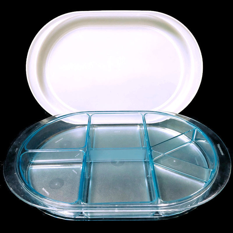 Tupperware Preludio Hors D'oeuvre Blue Acrylic Divided Oval Serving Tray 2015-A