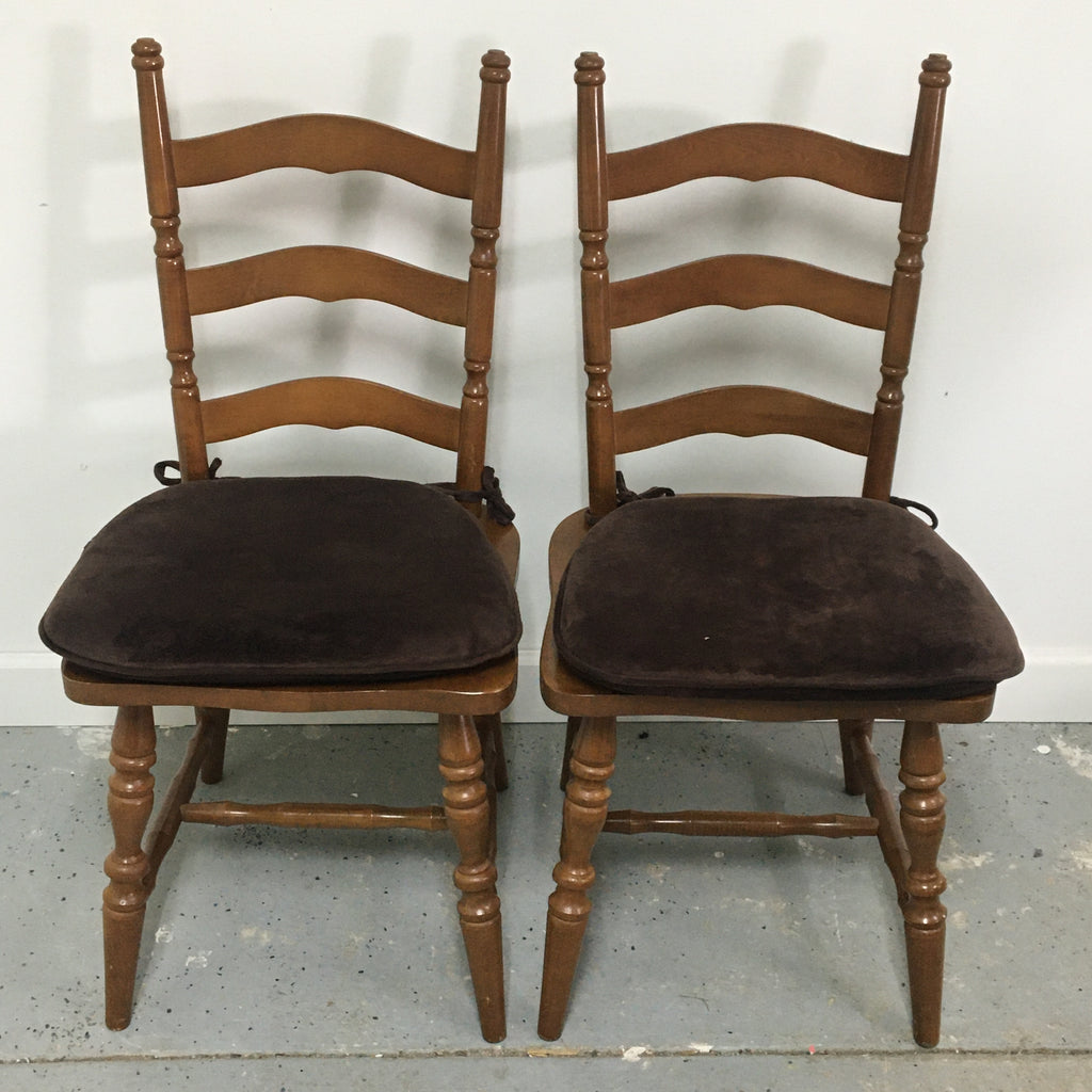 (2) Maple Wood Chairs w/ Cushion