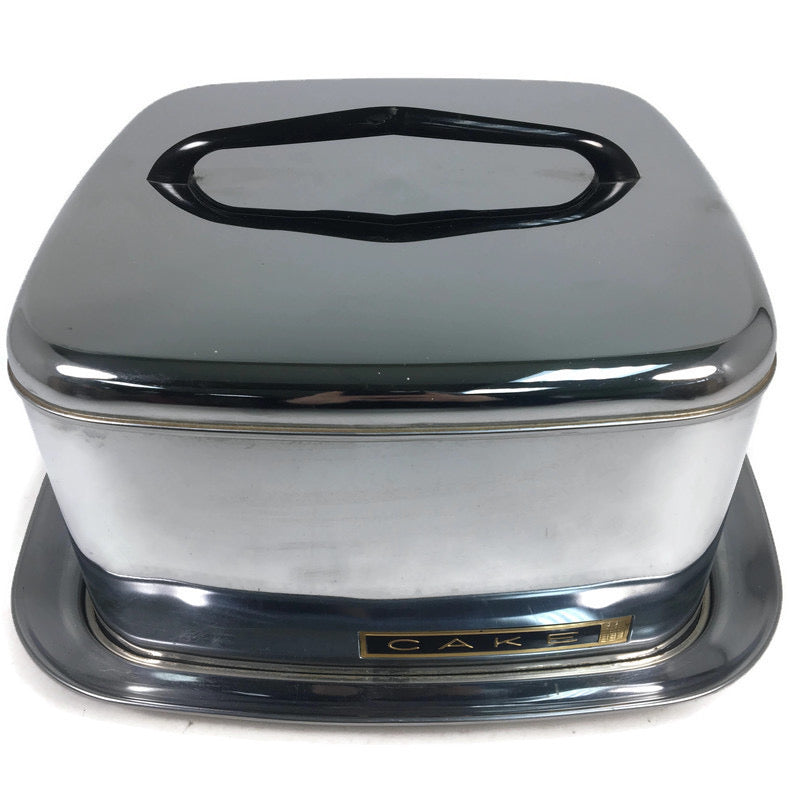 Lincoln Beautyful Chrome Metal Black Handle Square Cake Server Carrier