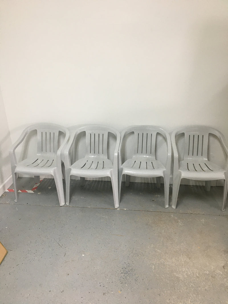 (4) Outdoor Grey Plastic Stackable Arm Chairs