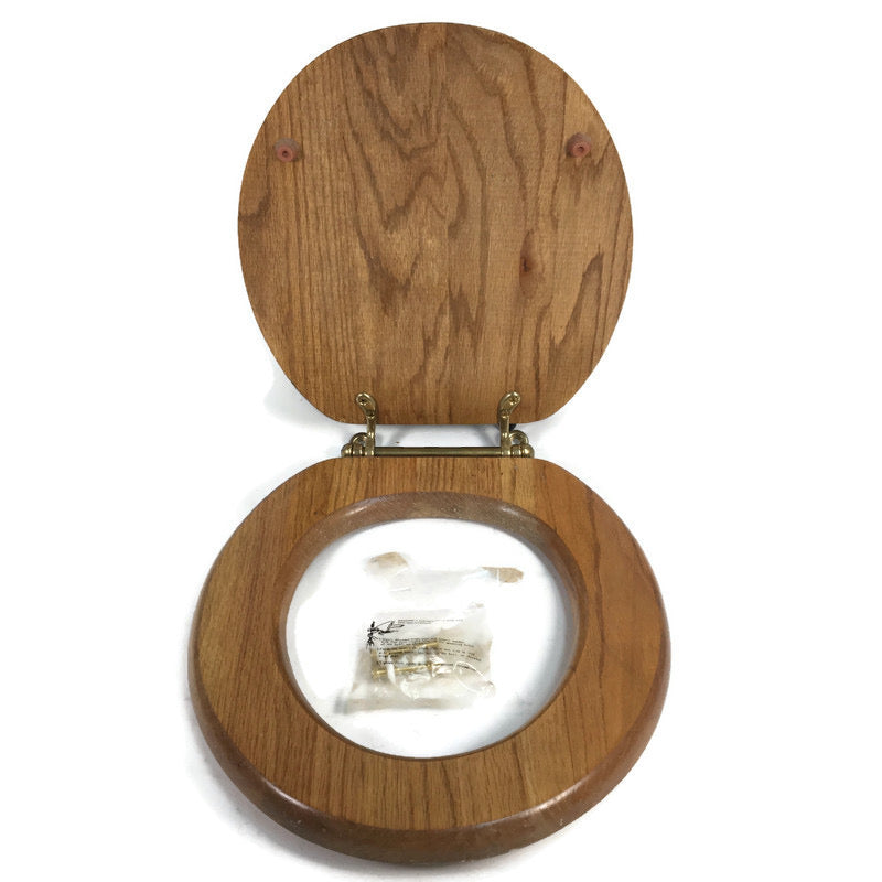 "Solid Oak 17""x14-1/2"" Toilet Seat With Brass Hinges"