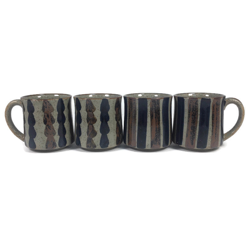 "(4) Striped Blue Brown Grey Ceramic 3.5"" Coffee Mugs 483"