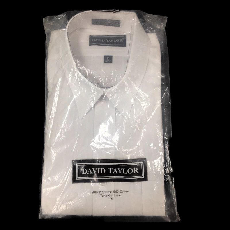 David Taylor Short Sleeve White Tone On Tone Button Down Dress Shirt