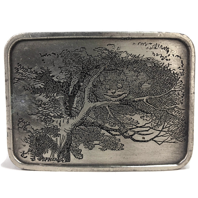 Bergamot Brass Works Alice In Wonderland Chesire Cat Pewter Belt Buckle