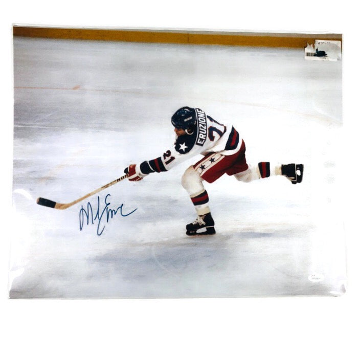 Mike Eruzione Miracle On Ice USA Hockey Winning Goal Autographed 20 x 16 Signed Poster Picture JSA COA