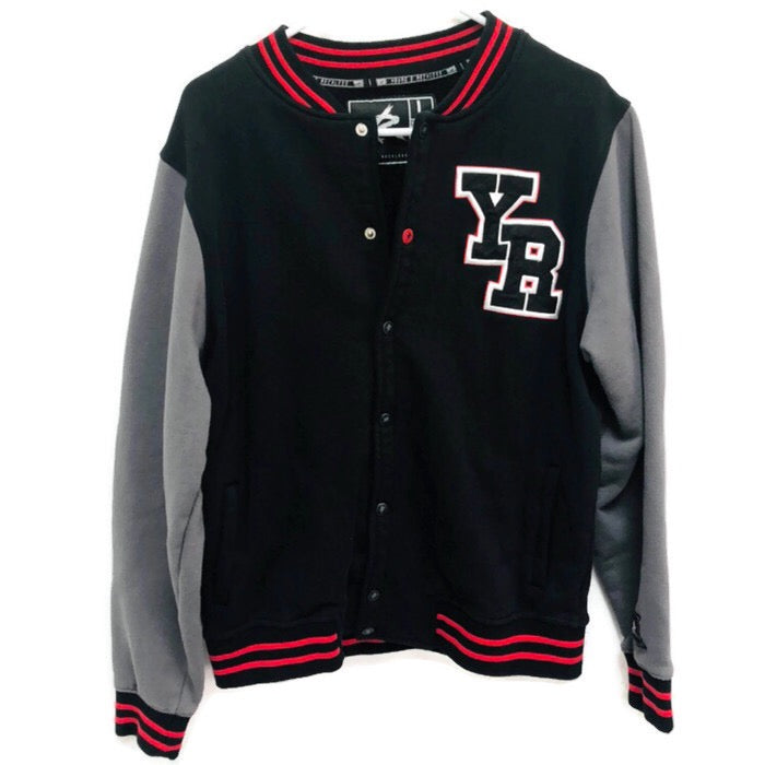 Young & Reckless Y&R Men's Varsity Letterman Black and Red Jacket