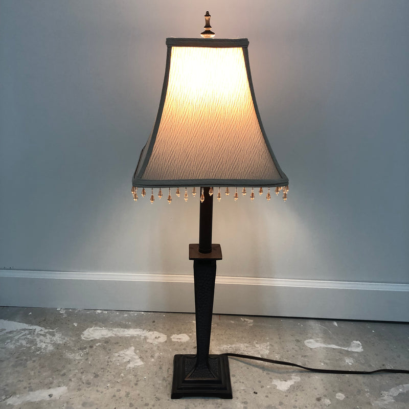 Dark Brown Lamp w/ Beige Beaded Shade