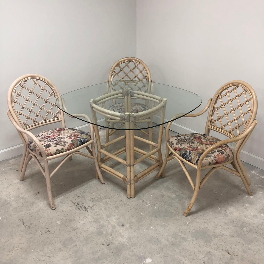 "Rattan Frame Floral Padded Chairs 46.5"" Glass Top Table Dining Set"