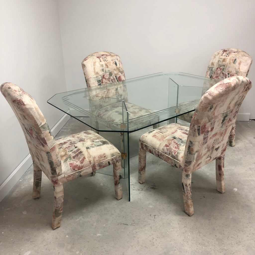 Glass Base Glass Top Etched Edge Dining Table Set